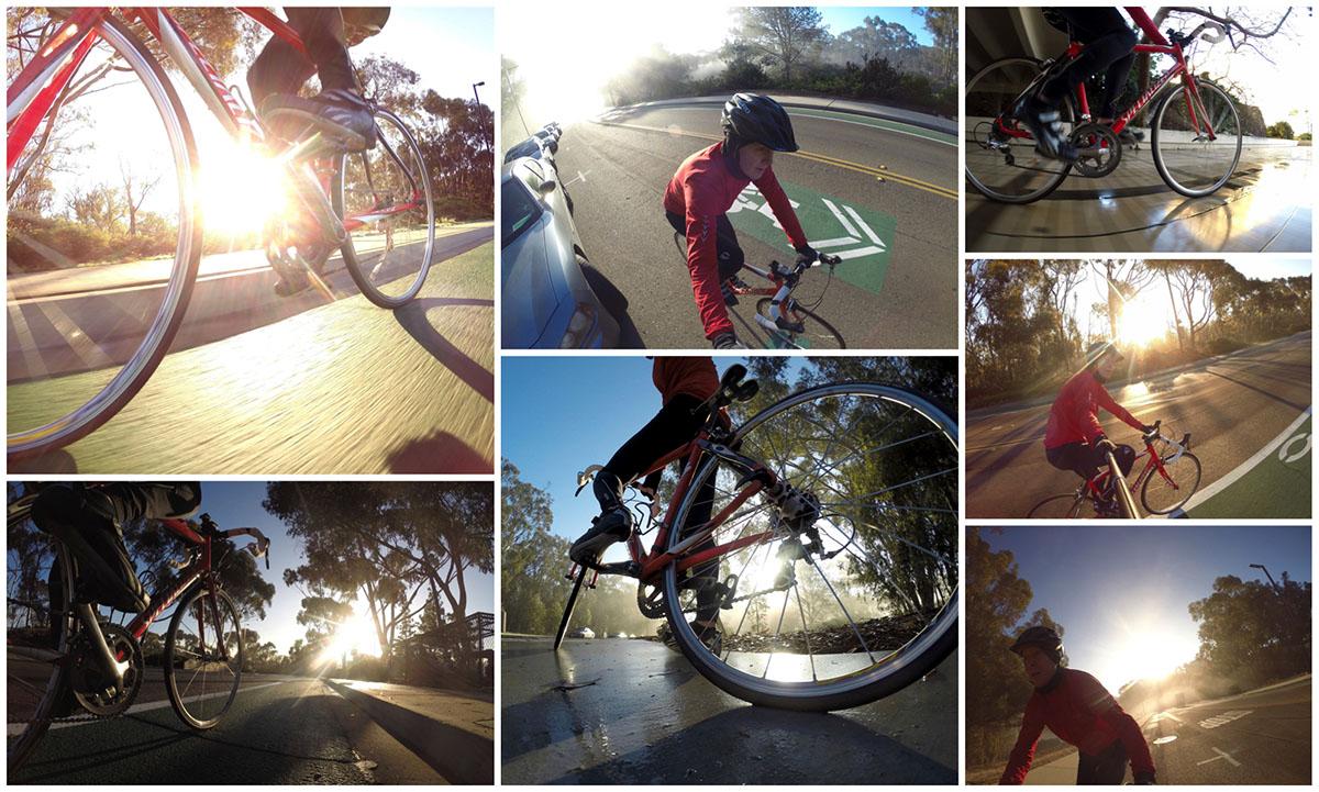bike ride with selfie stick photos