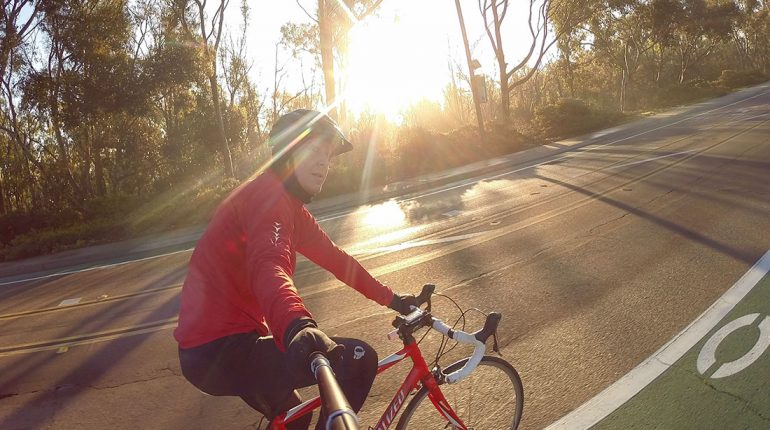 cycling with selfie stick